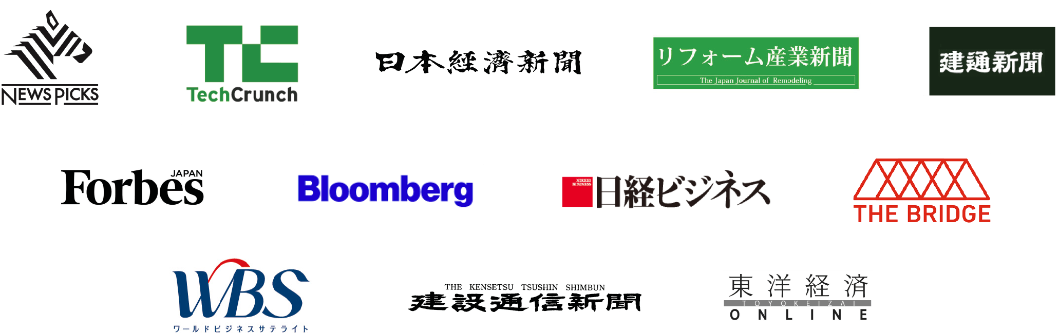 NEWS PICS, TechCrunch, 日本経済新聞, リフォーム産業新聞, 建通新聞, Forbes JAPAN, Bloomberg, 日経ビジネス, THE BRIDGE, ワールドビジネスサテライト, 建設通信新聞, 東洋経済ONLINE